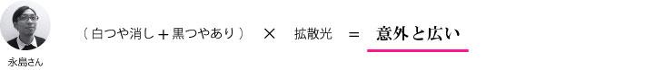 永島さん『(白つや消し+黒つやあり)×拡散光=意外と広い』