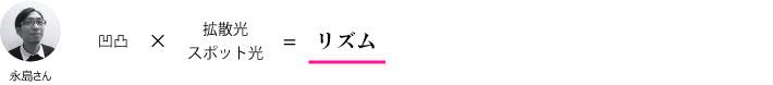 永島さん『凹凸×拡散光/スポット光=リズム』