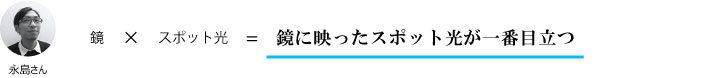 永島さん『展示品の周囲が鏡+スポット光=鏡に映ったスポット光が一番目立つ』