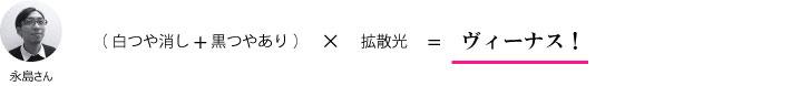 永島さん『(白つや消し+黒つやあり)×拡散光=ヴィーナス!』